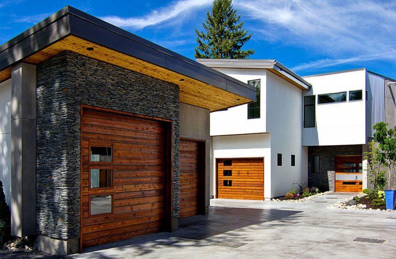 عکس درب پارکینگ مدرن و مینیمال با متریال فلز و یا چوب بصورت تک جنس و یا تلفیقی